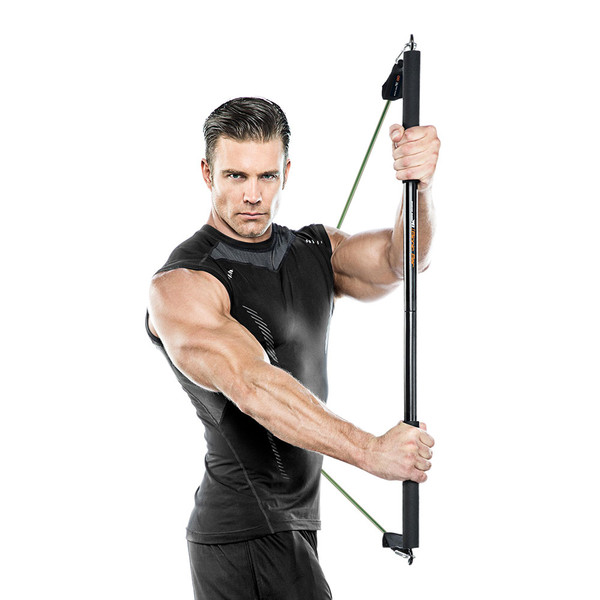Bionic Body BBEB-20 Exercise Bar in use by model to add weight to HIIT conditioning