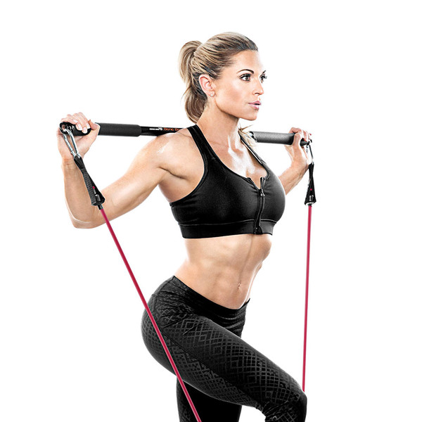 Bionic Body BBEB-20 Exercise Bar in use by Kim Lyons for Lunges