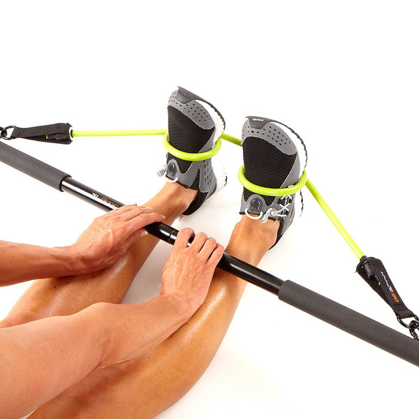 The Bionic Body BBEB-20 Exercise Bar is the perfect Resistance band accessory - Securing to your feet - Kim Lyons