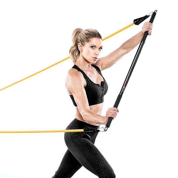 Kim Lyons using Bionic Body Training Kit w/ Exercise bar, Resistance Tube & Carabiner - BBKT-2020 - back workout