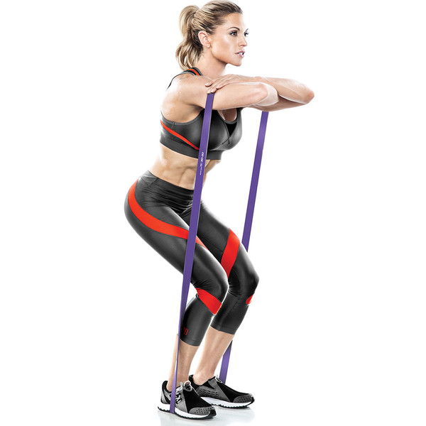 Bionic Body 30 lbs to 50 lbs Super Band in use by Kim Lyons to do squats without weights