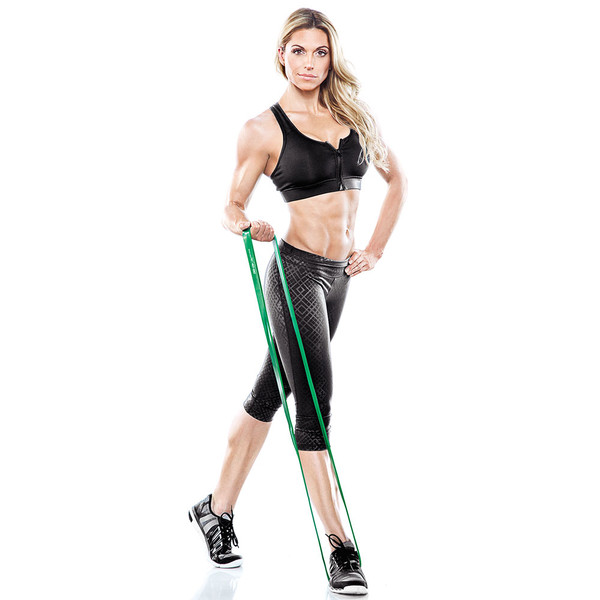 Bionic Body 40 lbs to 80 lbs Super Band in use as resistance for single arm biceps curls by Kim Lyons