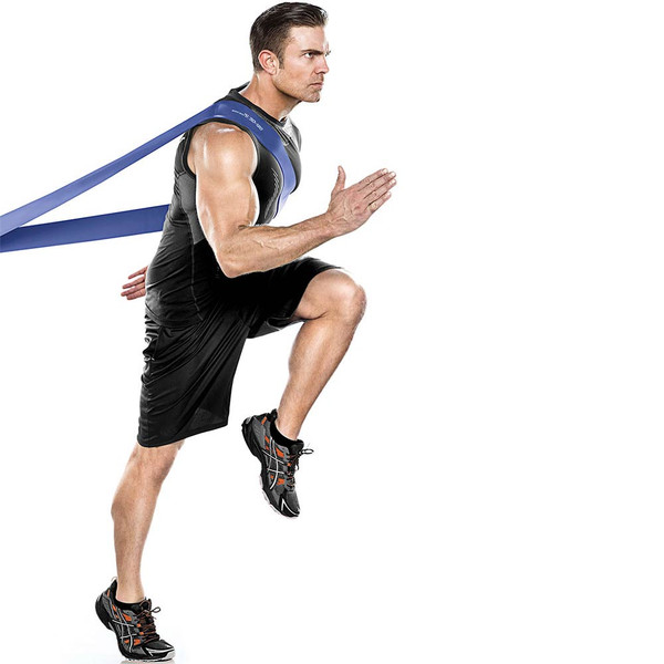 Bionic Body 50 lbs to 120 lbs Super Band in use as resistance for running by male model