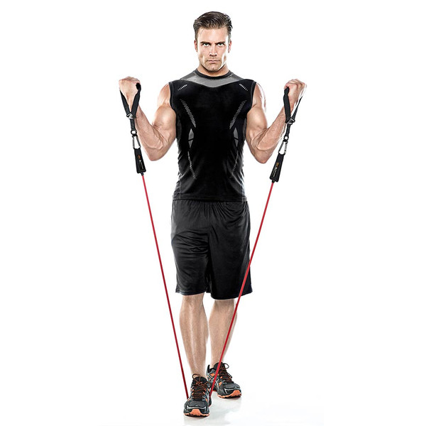Male Model using the Bionic Body Resistance bands to do curls without weights