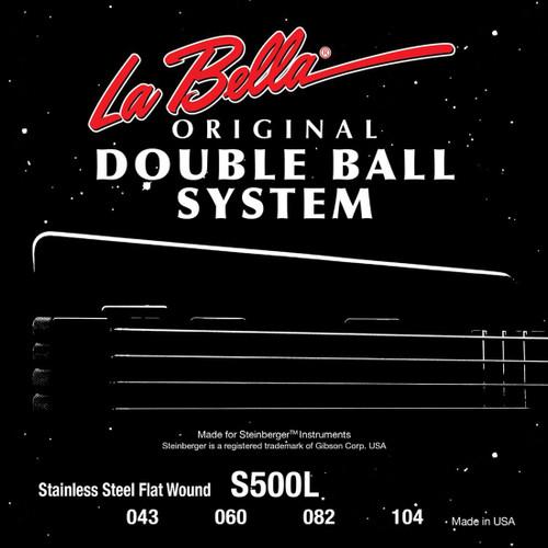 La Bella S500L FlatWound Double Ball End Bass Guitar Strings 43-104