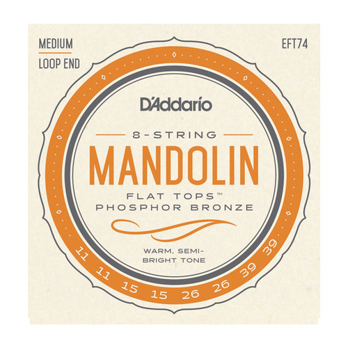 D'Addario EFT74 Flat Tops Phosphor Bronze Loop Mandolin Strings 8 strings 11-39