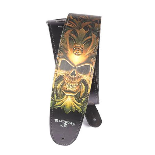 D'Addario Alchemy Leather Guitar Strap, Green Skull