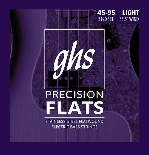 GHS Precision Flats Bass Guitar Strings - Medium Scale 45-95