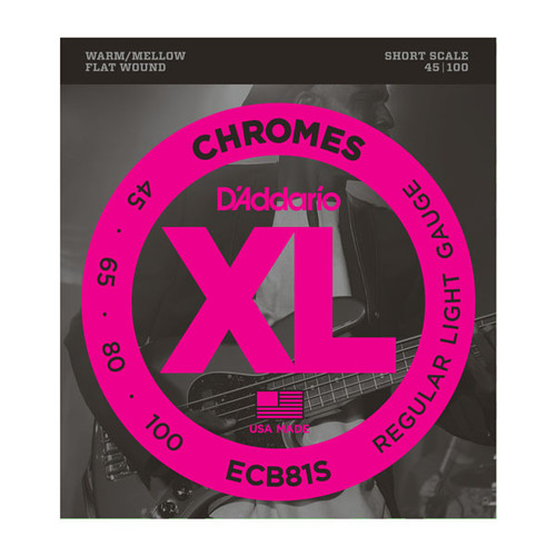 D'Addario XL Chromes Flat Wound Bass Guitar Strings Short Scale 45-100