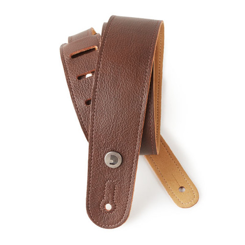 D'Addario Slim Garment Leather Guitar Strap, Brown