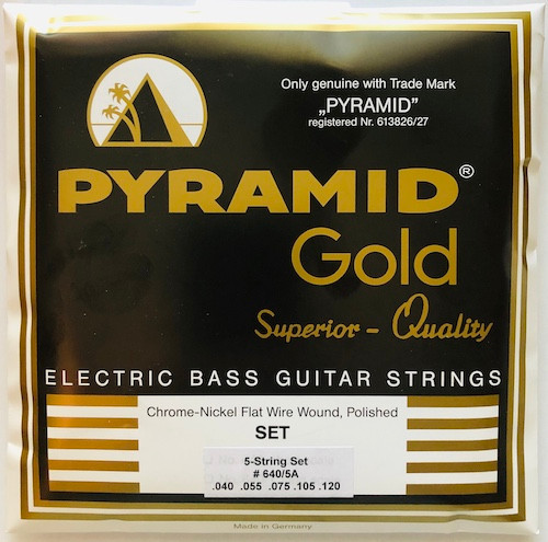"""Pyramid """"Gold"""" Chrome Nickel Flatwound Bass Strings; 5-String 40-120"""