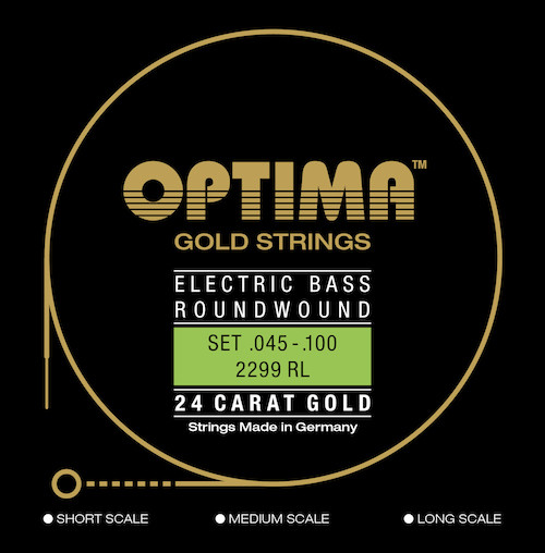 Optima 24K Gold Electric Bass Guitar Strings; 5-string super long scale