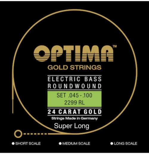 Optima 24K Gold Electric Bass Guitar Strings - super long scale 45-100