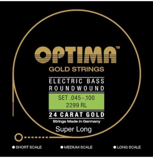 Optima 24K Gold Electric Bass Guitar Strings - super long scale 45-100