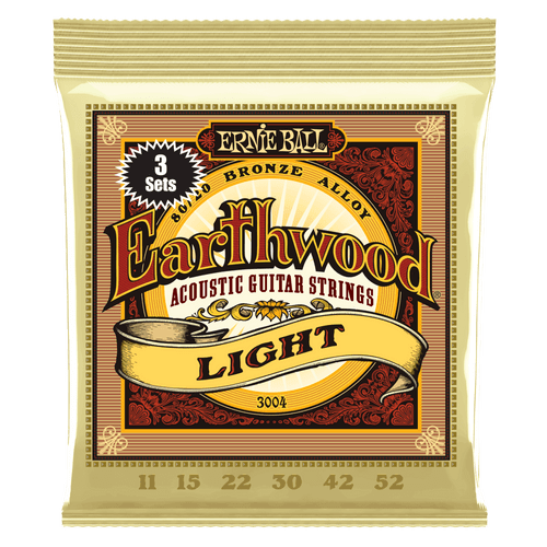 Ernie Ball Earthwood 80/20 Bronze Acoustic Guitar strings - 3-pack; 11-52