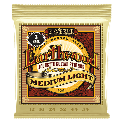 Ernie Ball Earthwood 80/20 Bronze Acoustic Guitar strings - 3-pack; 12-54