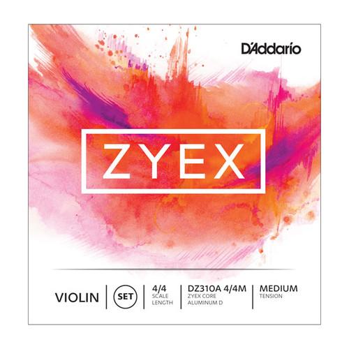 D'Addario Zyex Violin Strings - 4/4 scale; medium tension