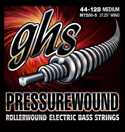 GHS Pressurewound Bass Guitar Strings; 5-String set  44-128