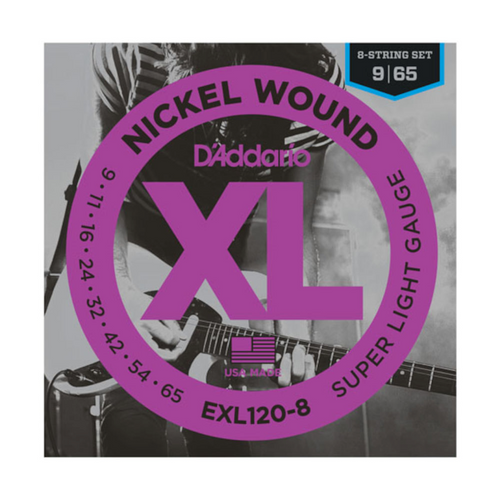 D'Addario XL Nickel Wound Electric Guitar Strings; 8-string set 9-65
