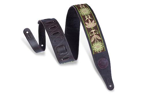 "Levy's 2.5"" Garment Leather Guitar Strap; Souldier Design Dark Brown"