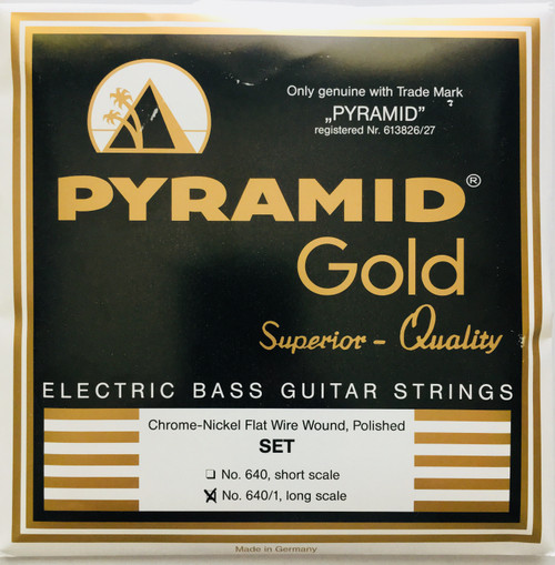 Pyramid-Gold Chrome Nickel Flatwound Bass Strings - long scale 40-105