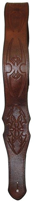 LM Belt Series Spider Brown Leather Guitar Strap