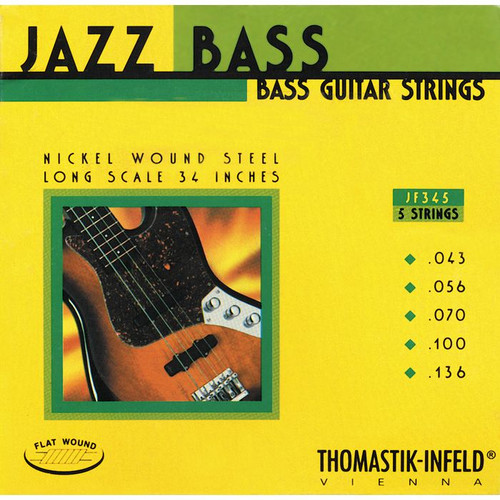 Thomastik Infeld Flatwound Nickel Jazz Bass Strings - 5-String 43-136 (JF345)