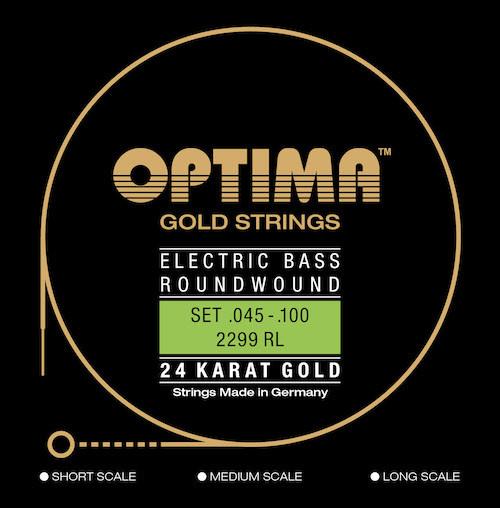 Optima 24K Gold Electric Bass Guitar Strings - medium scale 45-100