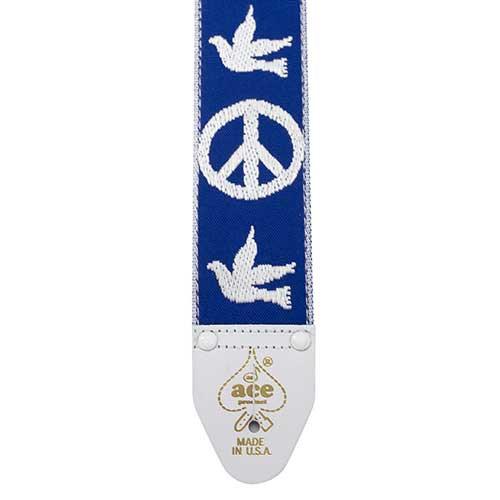 D'Andrea Ace Vintage Re-issue Guitar Strap - Peace Dove Blue