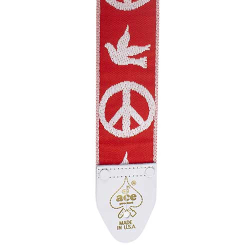 D'Andrea Ace Vintage Re-issue Guitar Strap - Peace Dove Red