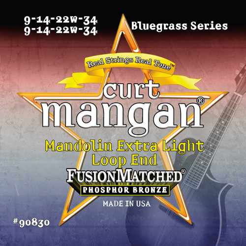 Curt Mangan Phosphor Bronze Loop End Mandolin Strings; 9-34