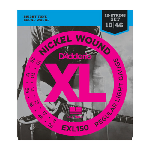 D'Addario Nickel Round Wound Electric Guitar Strings; 12-string set 10-46
