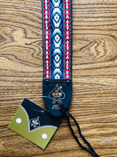 D'Andrea Ace Vintage Re-issue Guitar Strap 11 - Jacquard blue & red weave