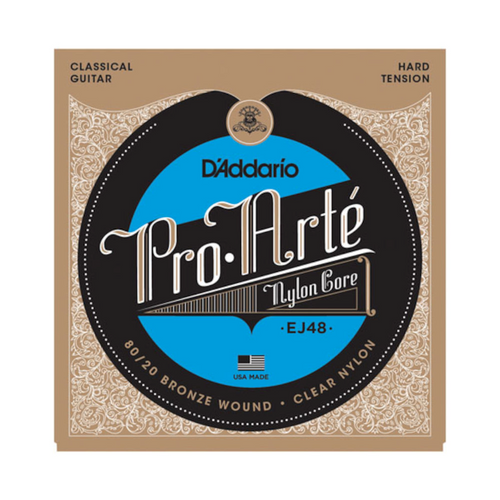 D'Addario 80/20 Bronze Pro-Arté Classical Guitar Strings; EJ48 hard tension