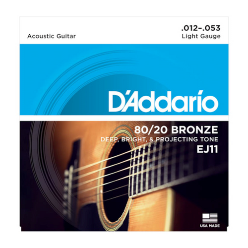 D'Addario 80/20 Bronze Acoustic Guitar Strings; 12-53