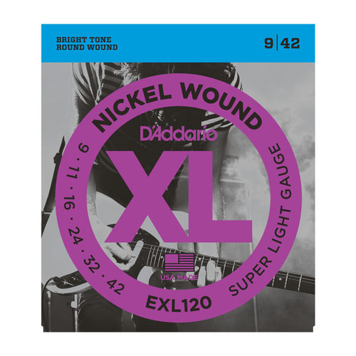 D'Addario XL Nickel Wound Electric Guitar Strings; 9-42