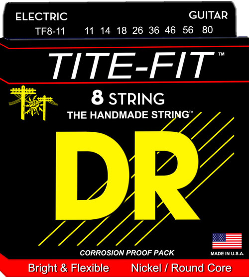 DR Tite-Fit Electric Guitar Strings; 8-String 11-80