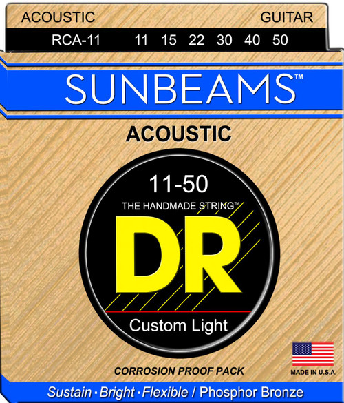 DR Sunbeams Phosphor Bronze Acoustic Guitar Strings; 11-50