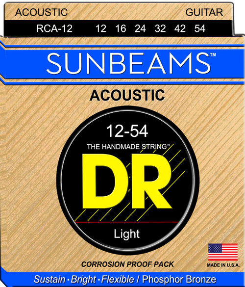 DR Sunbeams Phosphor Bronze Acoustic Guitar Strings; 12-54