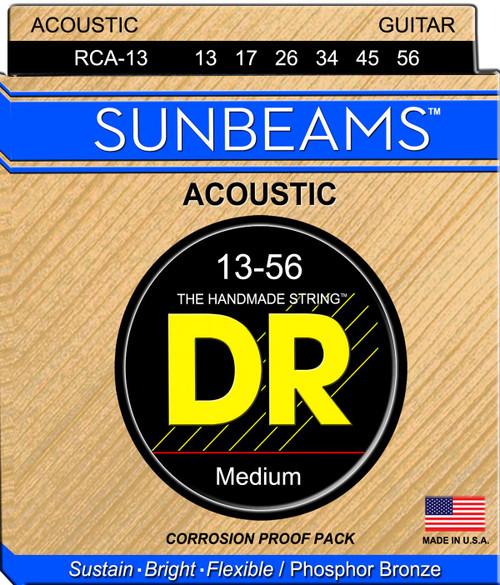 DR Sunbeams Phosphor Bronze Acoustic Guitar Strings; 13-56