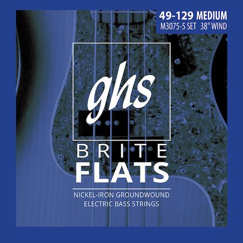 GHS Brite Flats Bass Guitar Strings;  5-String 49-129