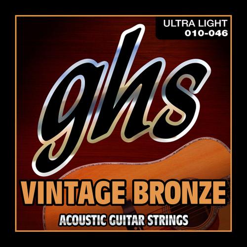 GHS Vintage Bronze Acoustic Guitar Strings; 10-46