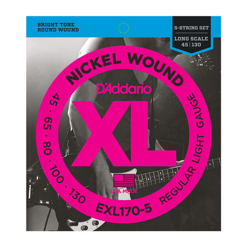D'Addario XL Nickel Wound Bass Guitar Strings; 5-String 45-130