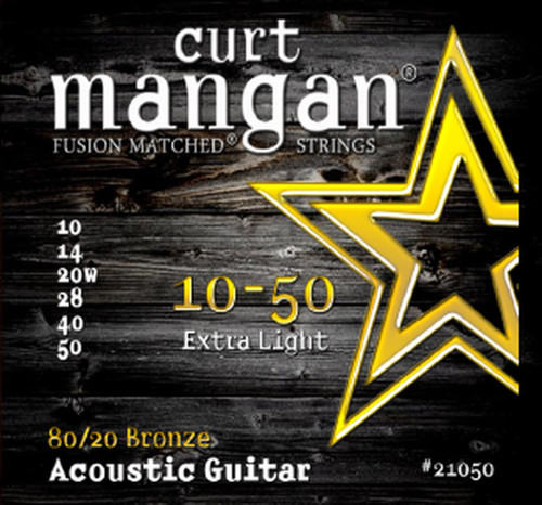Curt Mangan 80/20 Bronze Acoustic Guitar Strings; 10-50