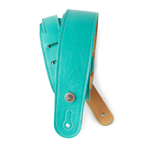 D'Addario Slim Garment Leather Guitar Strap, Teal