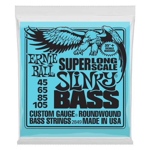 Ernie Ball Super Long Slinky Bass Guitar Strings; 45-105