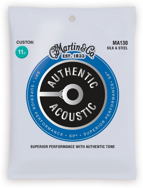 Martin Authentic Acoustic Silk & Steel Acoustic Guitar Strings; 11.5-47