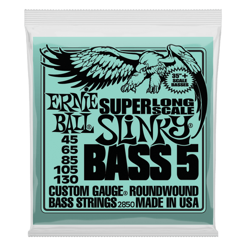 Ernie Ball Super Long Slinky Bass Guitar Strings; 5-String set 45-130
