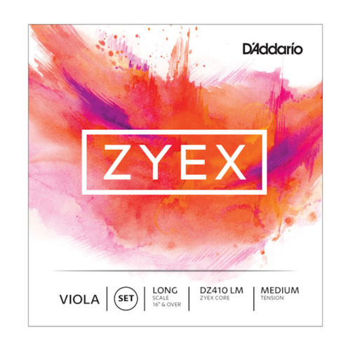D'Addario Zyex Viola Strings - long scale; medium tension