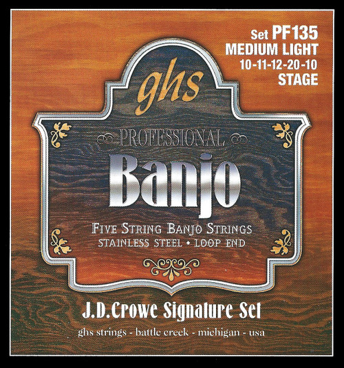 GHS J.D. Crowe Signature Stage Banjo Strings; 5-string med light gauge